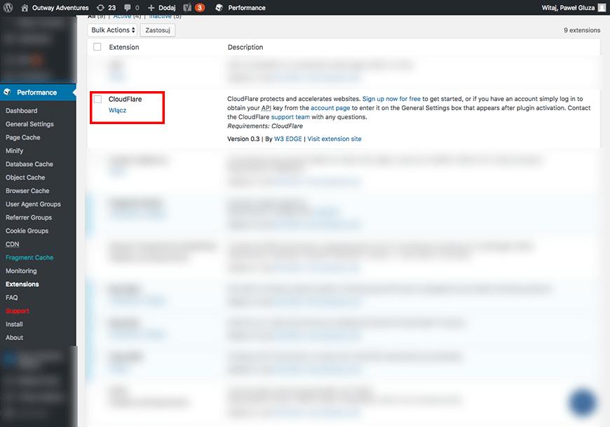 W3 Total cache - aktywacja CloudFlare