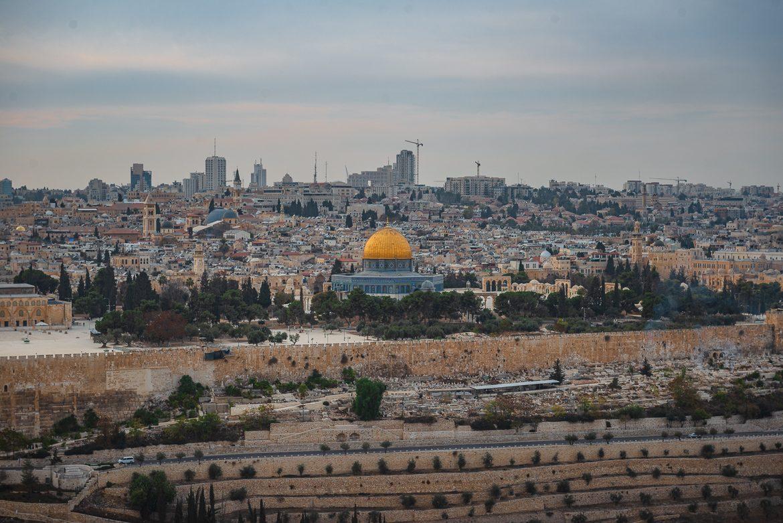 Jerozolima - widok na stare miasto ze Wzgórza Oliwnego.