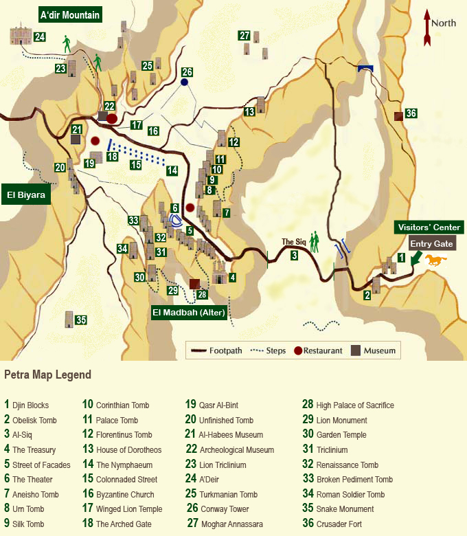 Petra, Jordania - mapa
